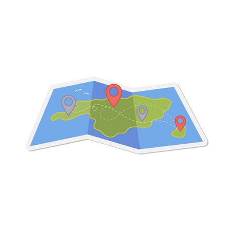 Map with a pin isolated on white. Fully transparent. Any background can be used Illustration
