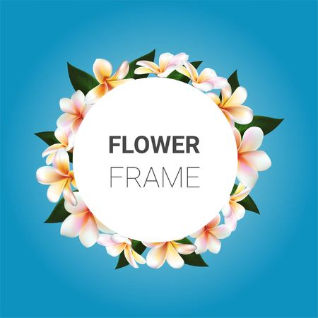 flower frame. Plumeria symbol Illustration