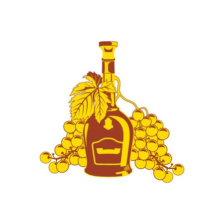 brandy: icon. A bottle of brandy and grapes