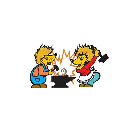 icon. Two hedgehogs. Blacksmiths forge iron