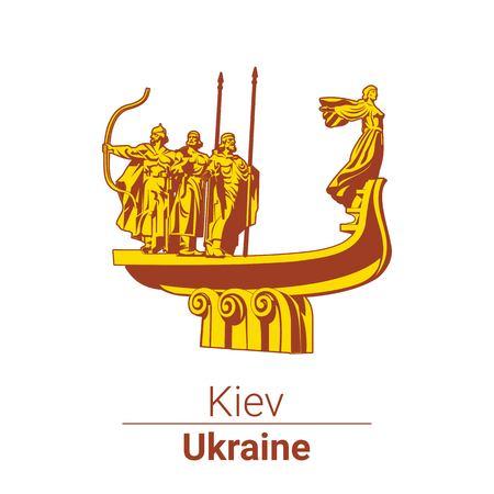 The monument to founders of Kiev. Ukraine.
