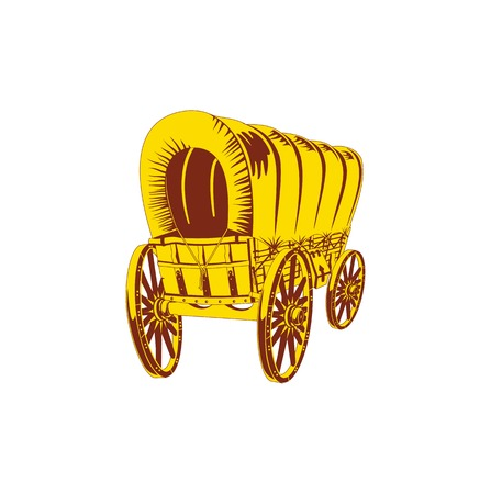 wooden horse: Old wagon. Flat style Illustration
