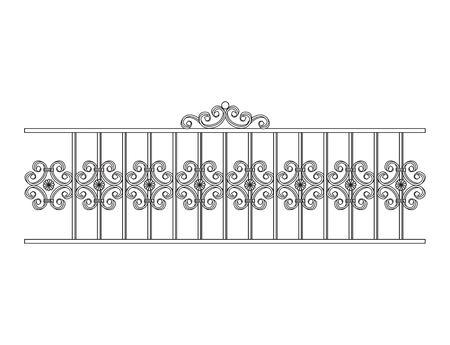 cordon: Black forged fence. Object isolated on white background