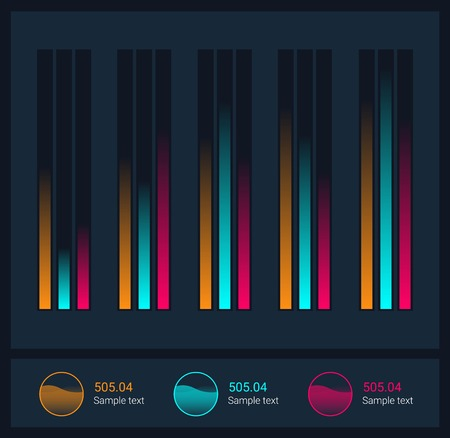representations: Infographic dashboard template with flat design graphs and charts