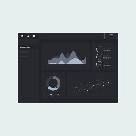 dashboard: Infographic dashboard template with flat design graphs and charts