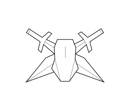 cross match: Vector logo. Computer mouse and swords. Game character. Line art Illustration
