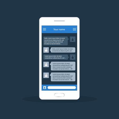 short message service: Vector phone chat interface. Sms messages. Speech bubbles. Short message service bubbles