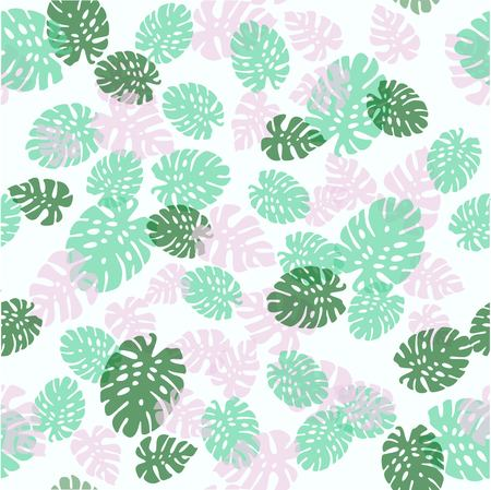 Seamless decorative pattern. Green palm leaves. Tropical monstera leaves illustration.