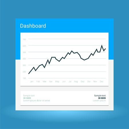 Infographic dashboard template with flat design graphs and charts. Processing analysis of data