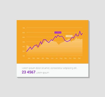 Infographic dashboard template with flat design graphs and charts. 向量圖像