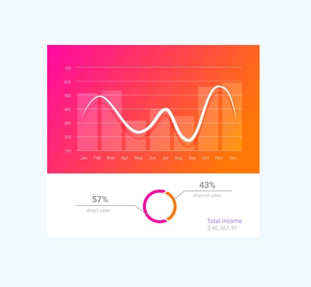 Info graphic dashboard template with flat design graphs and charts.