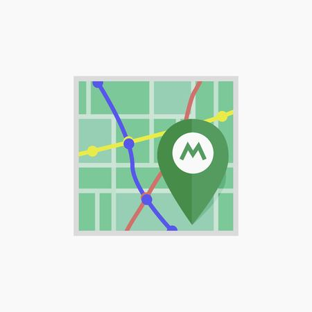 Vector metro icon Isolated map. Illustration