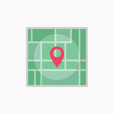 Map of the city. Point on the map. Pin and the distance, GPS navigator.