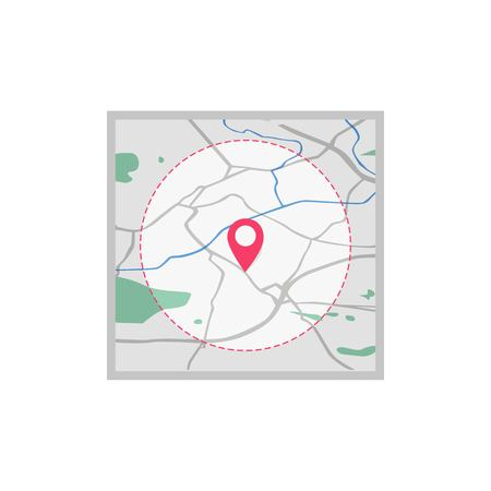 Vector icon. Map of the city. Point on the map. Pin and the distance, GPS navigator . Flat style 일러스트
