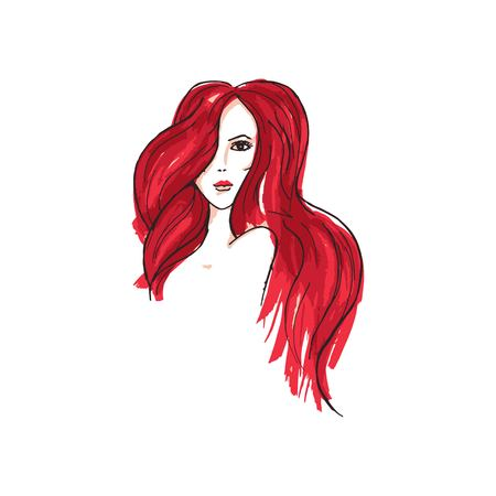 Vector image of a girl with long red hair. 向量圖像