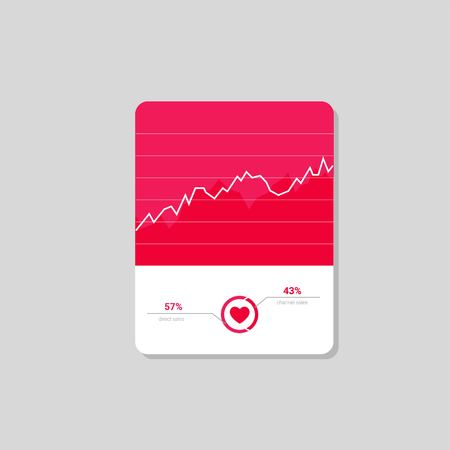 Infographic dashboard template with flat design graphs and charts. Processing analysis of data. vector love meter 向量圖像