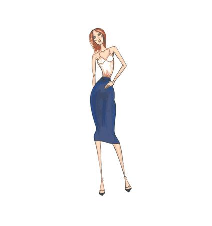 Vector fashion illustration. A model in a white top and blue skirt. Clothes in office style. 向量圖像