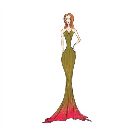 Fashion illustration. Model in a gold dress. Dress with a red carpet jpg eps