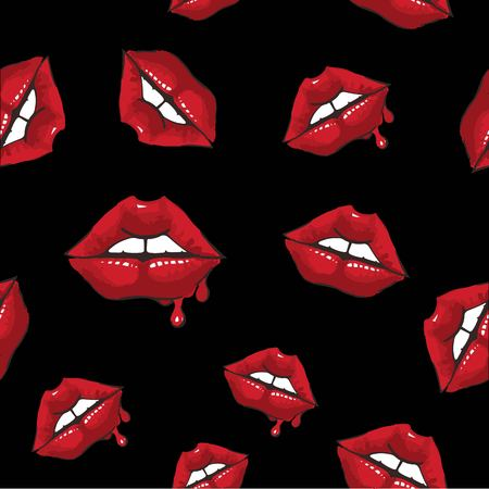 Seamless background. Vector lips Icon. 向量圖像