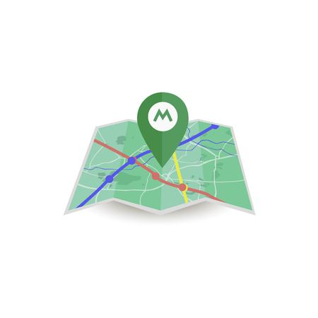 Map with metro locator icon.