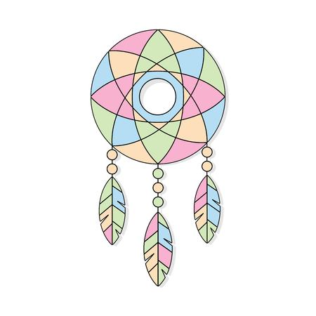 Ethnic vector illustration with American Indians dream catcher.