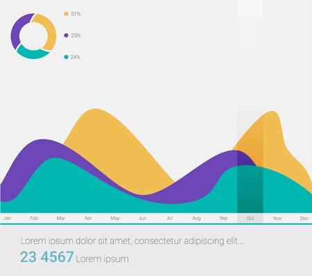 Infographic dashboard template with flat design graphs and charts. Processing analysis of data. 向量圖像