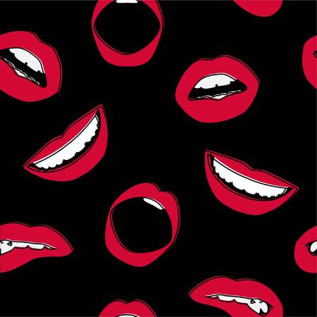 Seamless background. Vector lips. Icon. A womans mouth. Red lipstick 向量圖像