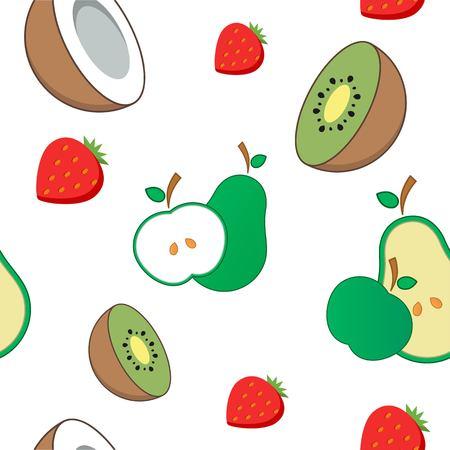 Seamless background in  Fruit Pattern like kiwi, avocado and apple
