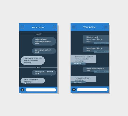 Vector application with chat boxes. Messenger. Message box. 向量圖像