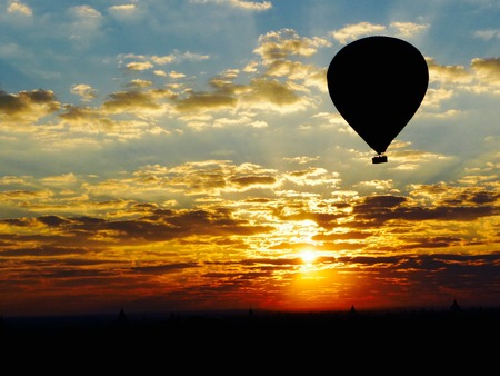tranquillity: Sunrise in a hot air balloon over Bagan