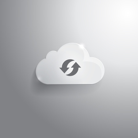 synchronization: Illustration of glass cloud with synchronization icon