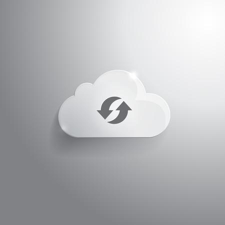 sincronizacion: Ilustraci�n de la nube de cristal con el icono de sincronizaci�n
