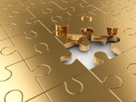 Golden puzzle business concept photo