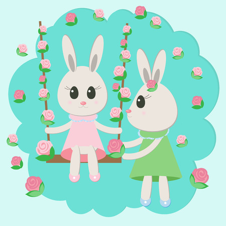 Illustration of two rabbits swining  Vector