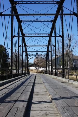 one lane: One lane Bridge wood decked truss bridge