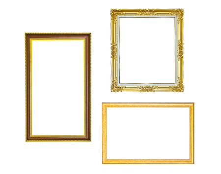 The antique gold frame isolated on the white background Stock Photo - 22893555