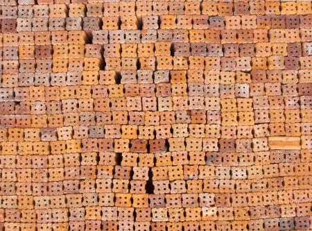 Clay bricks for the construction photo