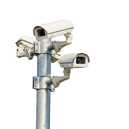 isolieren, Überwachungskamera, Videoüberwachung auf der Stange. Standard-Bild