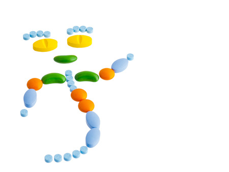 pills and capsules arranged to be cartoon character