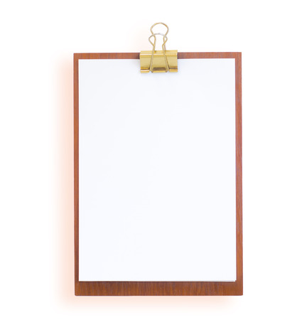 clipboard with white paper on a white background Stock Photo - 23149204