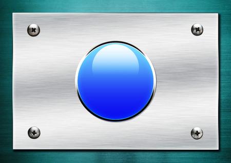 shiny button: blue shiny button on metallic background