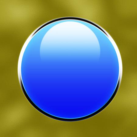 shiny button: blue shiny button on metallic  Stock Photo