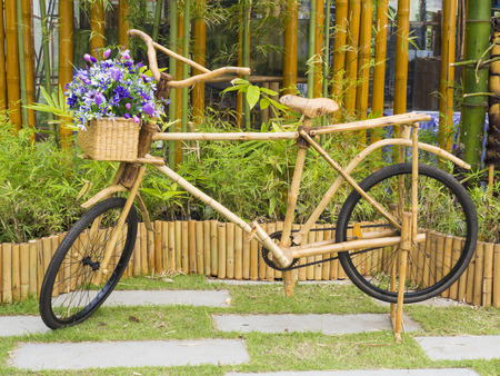 bamboo stick: bicycle ready to ride, made of bamboo stick Stock Photo