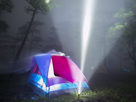 tent and flash light in the mist on forest in the night