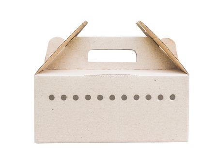 air flow: scatola di cartone con fori di ventilazione per il flusso d'aria isolati su bianco