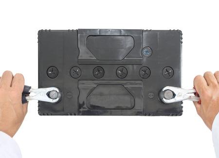 12v: Bater�a de 12v en estado de carga aislado en blanco