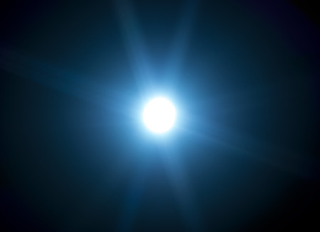 low temperature: 60mm lens flare on black background, low temperature color Stock Photo