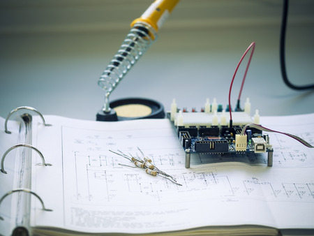 resistor: resistor component  and board on circuit diagram