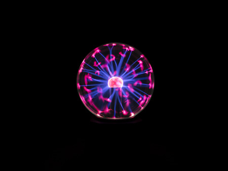 electric spark: electric spark on plasma ball , the high voltage supply to inner electrode then electrons discharge through low pressure gas to outer sphere