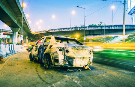 clash: a car burned by accident clash on high way